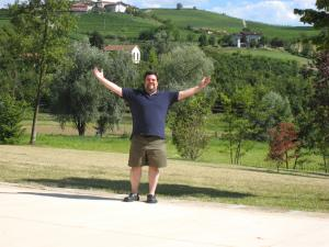 Italy Piedmont - Barolo La Spinetta Ben on Road in Front of Winery - 07-07